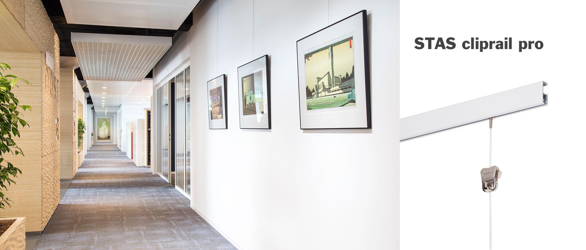 Fixation Tableau Sans Trou cimaises pour tableaux - stas picture hanging systems